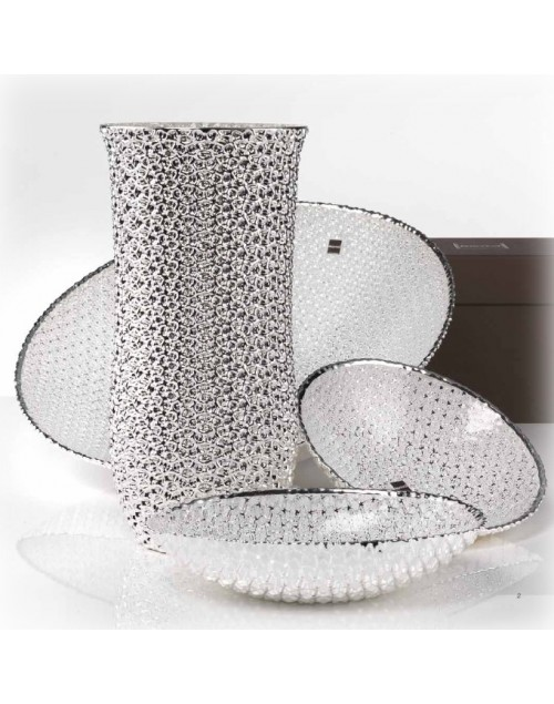 Centrotavola ciotola ovale collezione Diamante argento trasp. cm. 24x15 - Argenesi