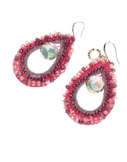 Orecchini pendenti acciaio con strass rosa - Ottaviani bijoux
