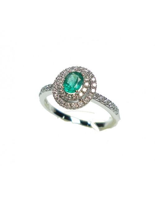 Anello oro bianco con diamanti ct. 0,33 e Smeraldo ct. 0,30 misura 14 - Cicalese Gioielli Valenza Made in Italy