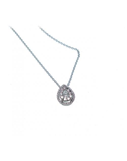 Collana donna oro bianco goccia con diamanti - Cicalese Gioielli Valenza Made in Italy