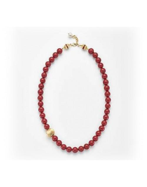 Collana perle rosso corallo e argento 7,5/8 - Nihama