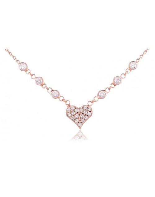Collana donna Vanessa's Joy Glitter Cuore in argento 925 rosè