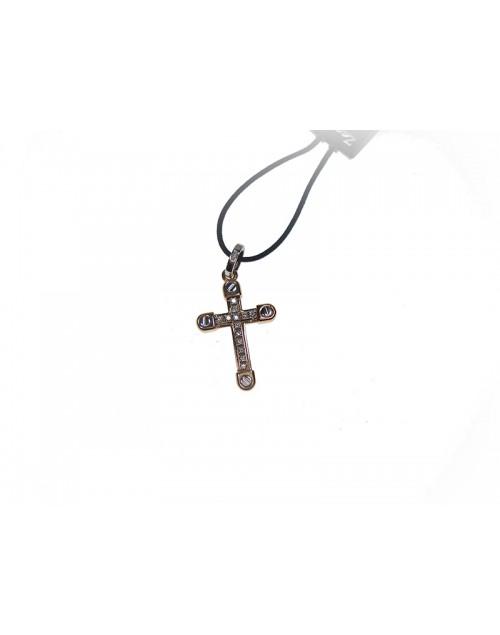 Pendente Croce uomo Zancan oro bianco e rosa con diamanti