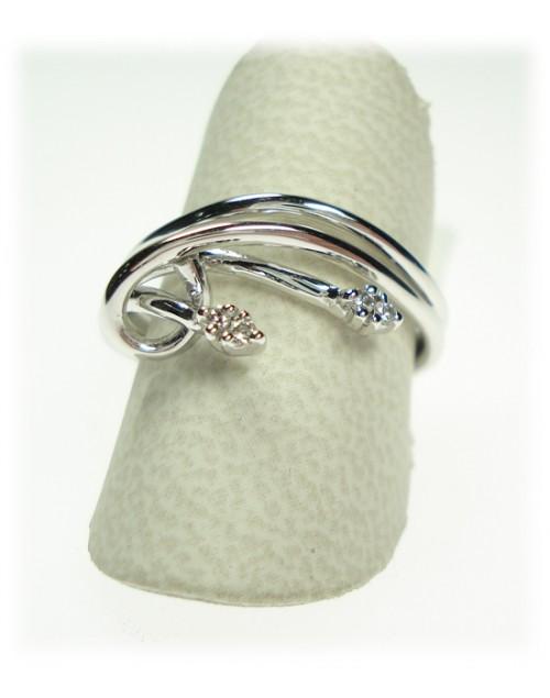 Anello donna oro bianco con diamanti ct. 0,04 misura 16 - Cicalese Gioielli Valenza Made in Italy