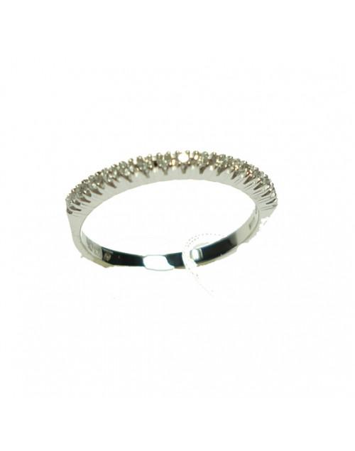 Anello oro bianco Veretta con diamanti ct. 0,06 misura 13 - Cicalese Gioielli Valenza Made in Italy