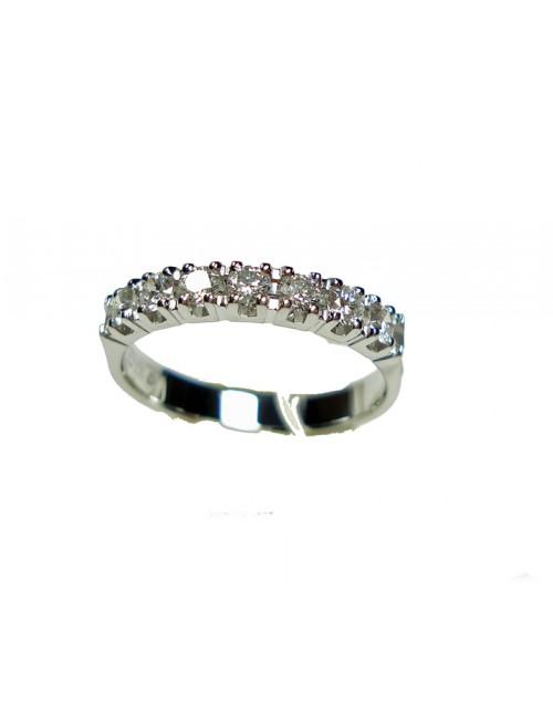 Anello oro bianco Veretta con diamanti ct. 0,45 misura 14 - Cicalese Gioielli Valenza Made in Italy
