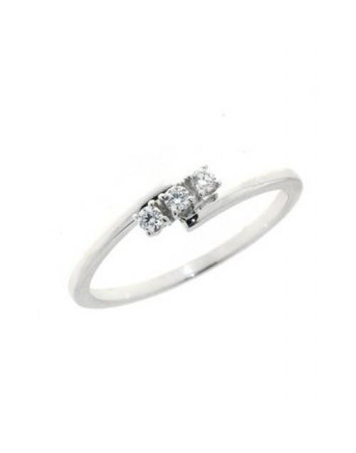Anello donna oro bianco Trilogy con diamanti ct. 0,08 Misura 14 - Cicalese Gioielli Valenza Made in Italy