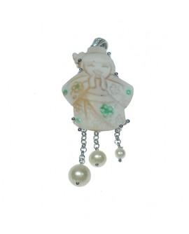 Pendente donna argento con cameo sfioccato, perle e zirconi - Aucella Torre del Greco