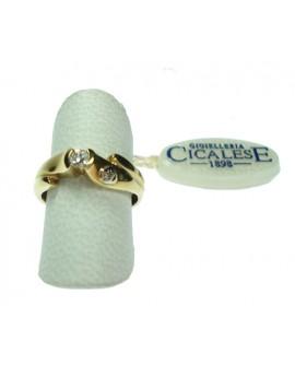Anello donna oro giallo e bianco Solitario con diamante ct. 0,12 Misura 14 - Cicalese 1898 gioielleria Made in Italy - OUTLET € 499,00