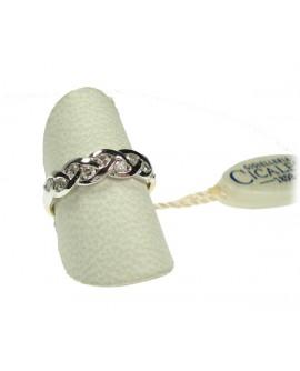 Anello donna oro bianco e giallo Veretta con diamanti ct. 0,35 Misura 15 - Cicalese 1898 gioielleria Made in Italy - OUTLET € 699,00