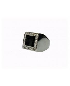 Anello Chevalier unisex argento brunito con cristalli - Cicalesegioielli