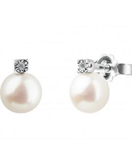 Orecchini donna Bliss Rugiada Perle 6/6,5 oro bianco con diamanti