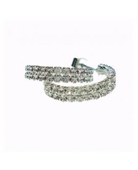 Orecchini ottone silver cerchi con cristalli Swarovski - 1AR by UnoAErre