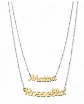 Collana personalizzata con doppio nome Mi Racconto argento - Spedizione in 7 gg. lavorativi