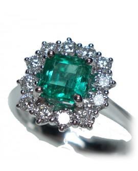 Anello oro bianco con Smeraldo e diamanti misura 13 - Cicalese Gioielli Valenza Made in Italy