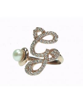 Anello donna argento rose gold con perle e cristalli - iniziale G - Marcello Pane