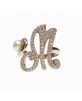Anello donna argento rose gold con perle e cristalli - iniziale M - Marcello Pane