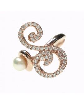 Anello donna argento rose gold con perle e cristalli - iniziale S - Marcello Pane