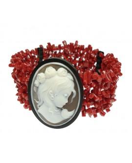 Bracciale donna corallo rosso ed ebano con cameo sfioccato a mano - Aucella Torre del Greco