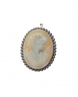 Pendente - Spilla donna Cameo argento di conchiglia naturale inciso a mano - Pezzo Unico - Aucella Torre del Greco