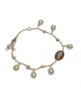 Bracciale donna argento gold con cameo e perle - Cameo Italiano Di Luca