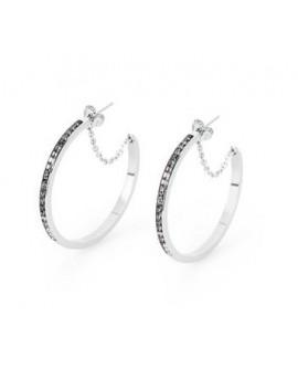 Orecchini donna cerchi acciaio con cristalli Swarovski silver night Ear Tring - BrosWay - OUTLET - SALDI