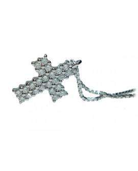 Pendente Croce oro bianco e diamanti - Cicalese Gioielli Valenza Made in Italy