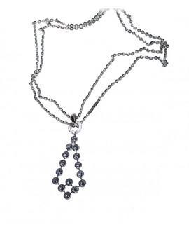 Collana donna in bronzo e bagno di oro bianco con cristalli Palm Beach - Rebecca - OUTLET