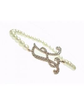 Bracciale donna argento rose gold con perle e cristalli - iniziale A - Marcello Pane