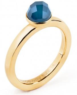 Tring Anello Bellezza acciaio, pvd oro e agata blu Misura 16 - BrosWay