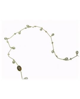 Collana lunga donna argento gold con cameo e perle - Cameo Italiano Di Luca
