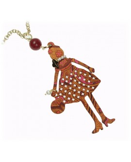 Collana donna Bambola bronzo gold, legno e seta - Le Carose couture - Toco d'encanto gioielli - OUTLET
