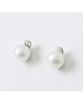 Orecchini Perle 5,5/6 oro bianco con diamanti tot. ct. 0,02 - Nihama