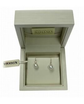 Orecchini Perle 7/7,5 oro bianco Diamanti tot. ct. 0,04 - Nihama