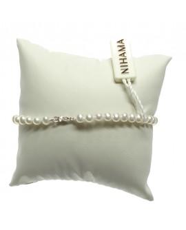 Bracciale Perle 4/4,5 oro bianco gancio piccolo coppette - Nihama
