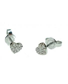 Orecchini cuore oro bianco e diamanti - Cicalese Gioielli Valenza Made in Italy