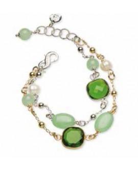Bracciale donna Sovrani Gioielli Petit Pois ottone rosè con perle, cristalli e giada verde