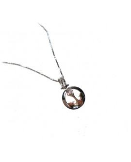 Collana uomo oro bianco e rosa Ancora con diamanti tot. ct. 0,01 - Cicalese Gioielli Valenza Made in Italy