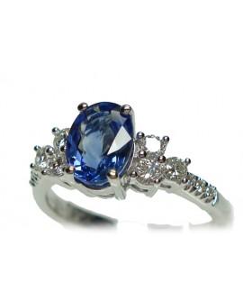 Anello oro bianco con Zaffiro Blu e diamanti misura 14 - Cicalese Gioielli Valenza Made in Italy