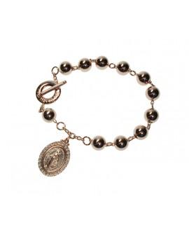Bracciale unisex Rosario grande argento rosè con cristalli - Mediterraneo gioielli