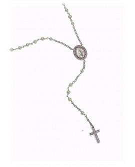 Collana unisex Rosario argento rodiato con perle e cristalli - Mediterraneo gioielli