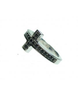 Anello unisex argento con cristalli black Croce misura 18 - Mediterraneo gioielli
