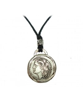Collana pendente unisex argento e cordoncino nero con moneta didramma in argento - Gioiello Artigianale - Made in Nuceria