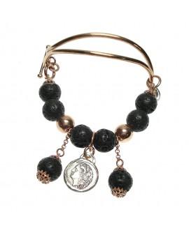 Bracciale argento rose gold con moneta didramma in argento e pietra lavica - Ed. limitata - Gioiello Artigianale - Made in Nuceria