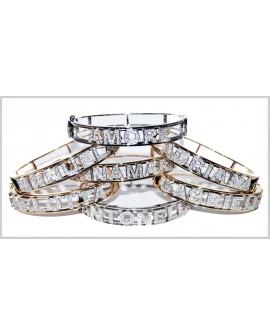 Bracciale donna rigido manetta acciaio con nome Personalizzabile con cristalli - Cicalese gioielli - Made in Italy