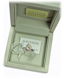 Anello perle 14 con diamanti 8/8,5 - Nihama