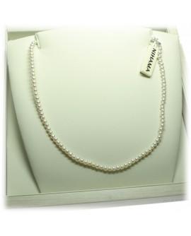 Collana Perle 3,5/4 oro bianco gancio piccolo - Nihama
