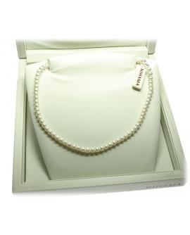 Collana Perle 5/5,5 oro bianco gancio piccolo coppette - Nihama