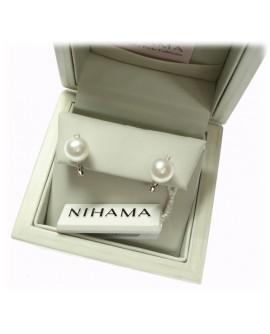 Orecchini Perle 8/8,5 oro bianco  con Diamanti ct. 0,04 - Nihama