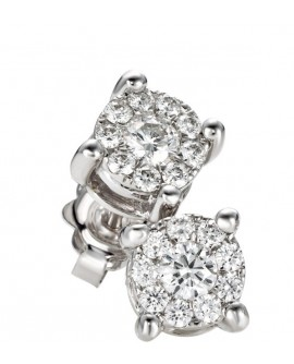 Orecchini punto luce oro bianco fantasia con diamanti ct. 0,19 - Cicalese 1898 Gioilleria Made in Italy